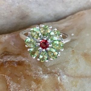 NEW Peridot and garnet sterling flower ring